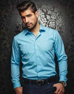 Designer Dress Shirt - Azzaro Aqua