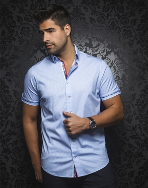 Sporty Short Sleeve Dress Shirt:  Balotelli Light Blue