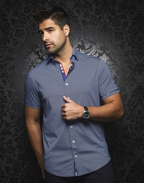 Sporty Short Sleeve Dress Shirt:  Balotelli Navy