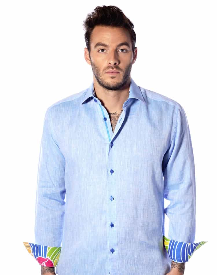 linen dress shirt men light blue linen shirt