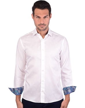 Crisp White Men's Long Sleeve Dress Shirt