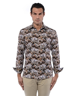 Floral Pattern Brown Shirt