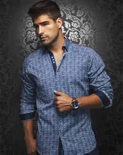 Casual Shirt: Turquoise Navy Stripe Dress Shirt