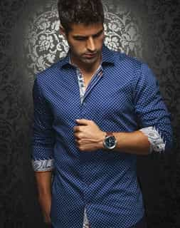 Men Sport Shirt: Navy Luxury Dress Shirt