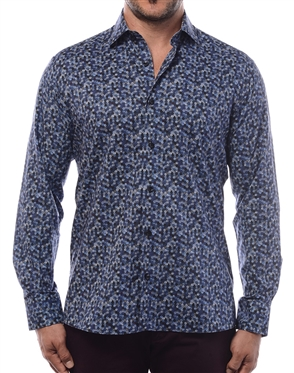 Luxury Dress Shirt - Black And Light Blue Dotted On Abstract Designer Shirt