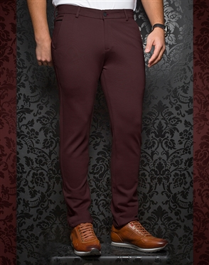 Fashionable Beige Pants - Baretta Wine