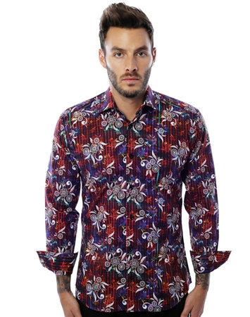 Designer Floral Shirt - Red