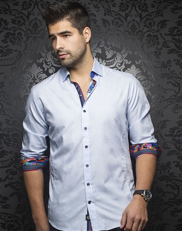 Luxury Men's Fashion shirt:  Berlioz Light Blue