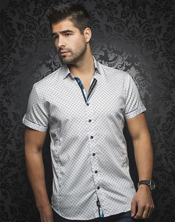 Designer Short Sleeve Dress Shirt:  Biagio White