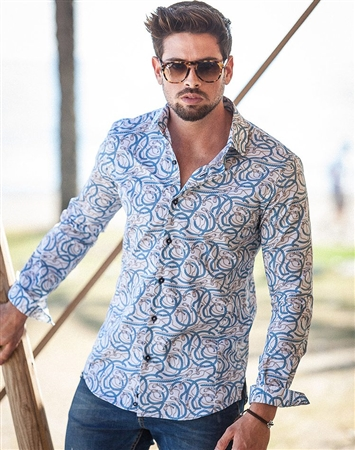 Designer Blue Swirl Print Dress Shirt