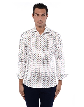Icy Blue Men's Short Sleeve Dress Shirt