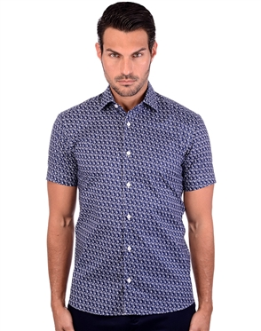 Stylish Navy Blue Patterned Men's Short Sleeve Dress Shirt