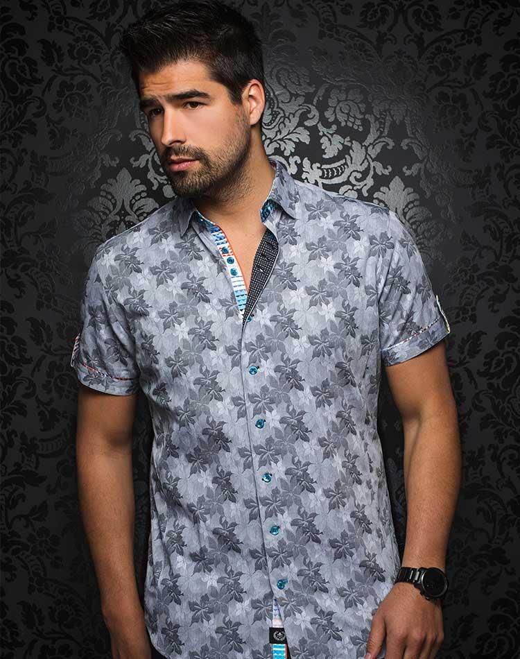 Black Floral Short Sleeve Dress Shirt Mens Luxury Button Down