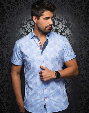 Stylish Light Blue Short Sleeve Woven