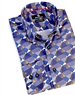 Luxury Royal Blue Geometric Print Shirt