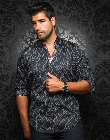 Designer Dress Shirt: Bossiano Black