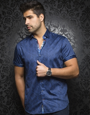 Sporty Short Sleeve Dress Shirt:  Bossiano Navy Royal