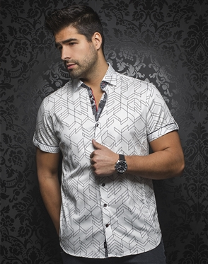 Sporty Short Sleeve Dress Shirt:  Bossiano White