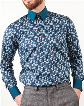 Blue FLoral French Cuff Shirt- Changeable cuffs and Collar