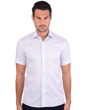 White And Blue Men's Sport Dress Shirt