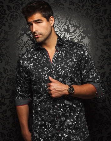 Designer Shirt: Men Black White Fashion Shirt