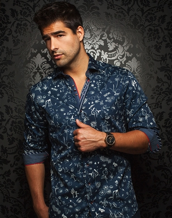 Designer Shirt: Men Navy White Fashion Shirt