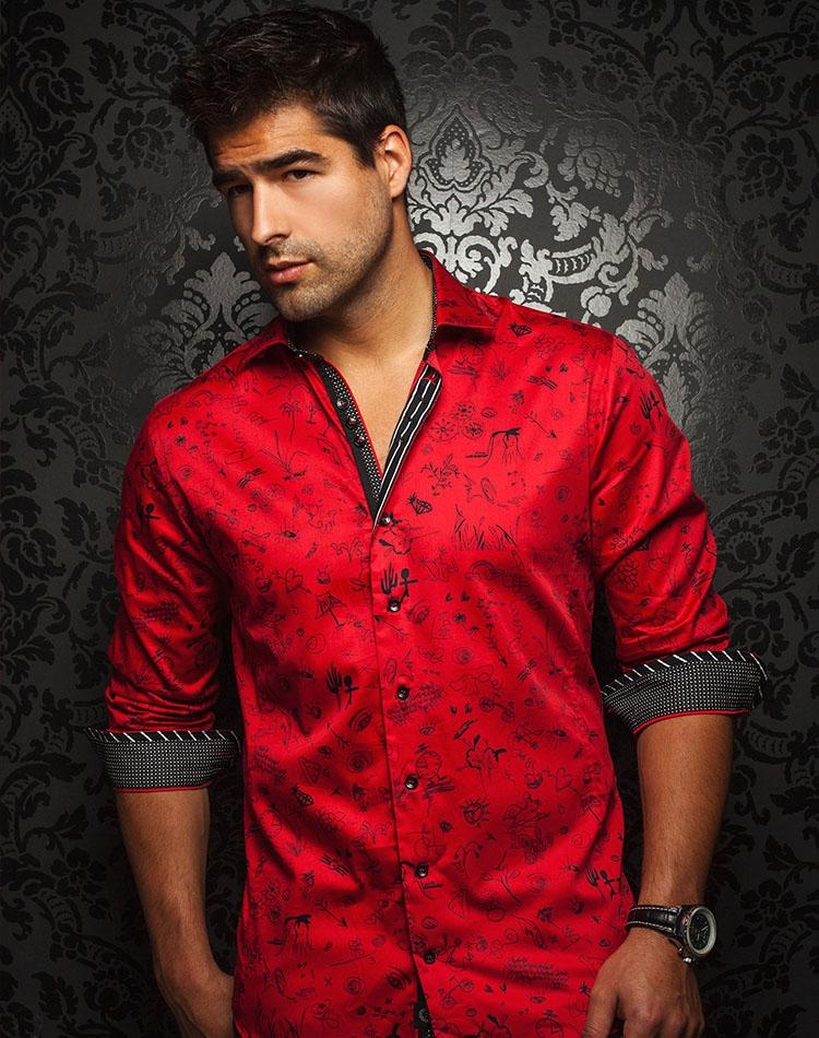 Men Dress Shirt Unique Red Button Down Fashion Shirt