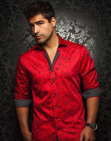 Designer Shirt: Men Red Black Fashion Shirt