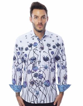 Stylish White Floral Dress Shirt