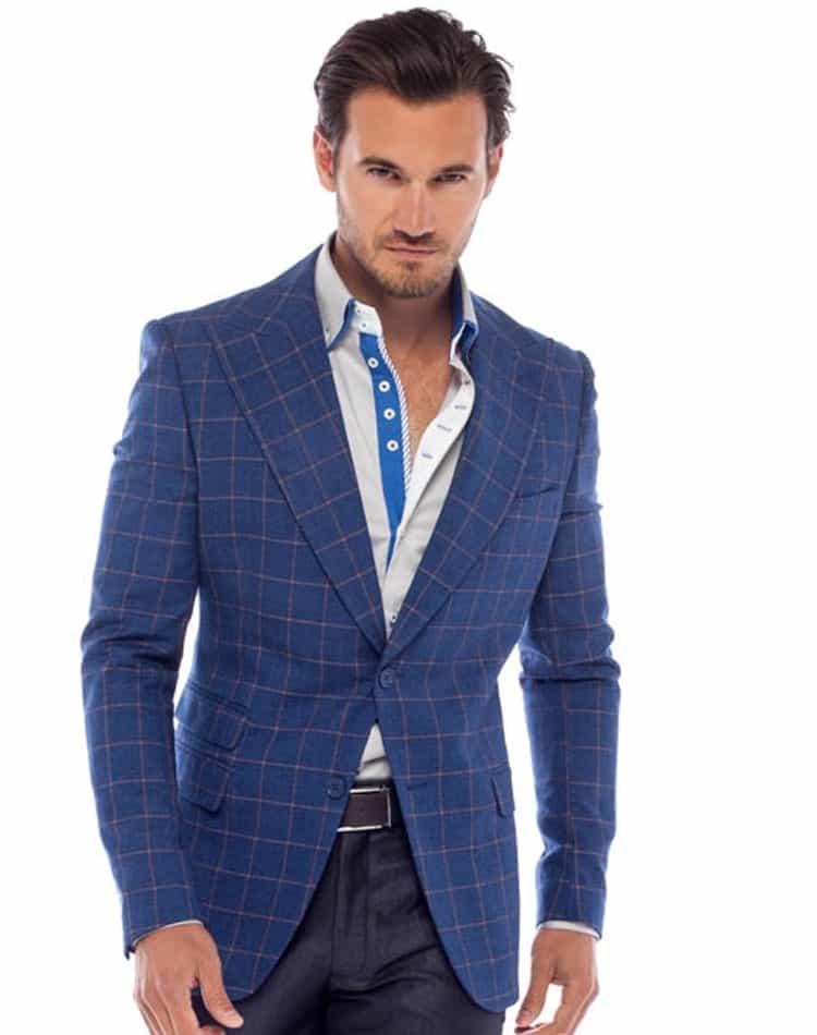 Blazer: Men Blue Designer Blazer | Botagi French Blazer Carter Blue