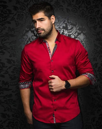 Casual Shirt: Men Burgundy Long Sleeve Casual Shirt