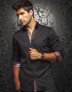 Men Sport Shirt: Designer Black Dress Shirt
