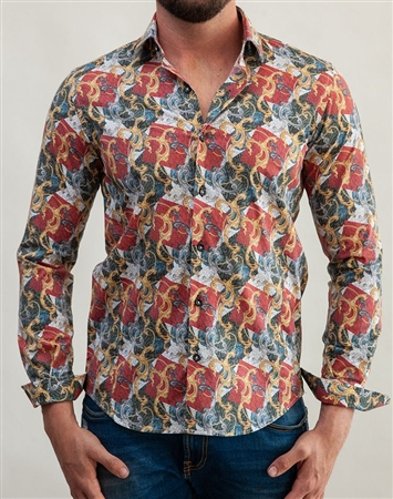 Baroque Leopard Print Dress Shirt