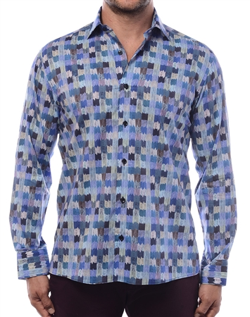 Flawless Dress Shirt - Modern Water Color Fade-In Plaid Shirt