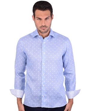 Polka Blue Men's Cotton Shirt