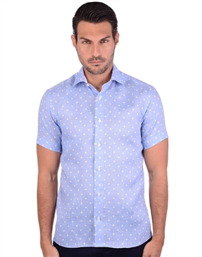 Polka Blue Button Down Dress Shirt