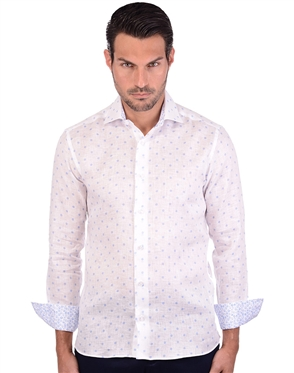 Platinum White Men's Designer Dress Shirt