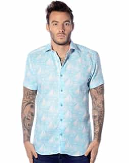 Turquoise and White Short Sleeve Shirt
