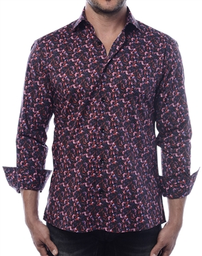 Luxury Sport Shirt - Burgundy Small Leaf Abstract Print Shirt