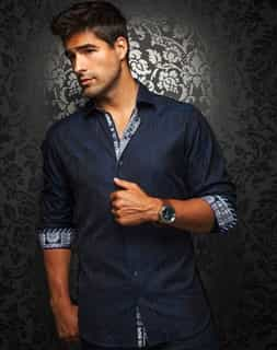 navy Shirt: navy Dress Shirt: Fashion 2017