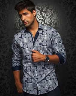 graphic dress shirts : Men Purple Graphic Dress Shirt