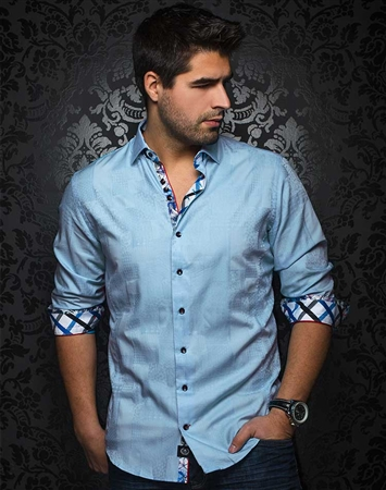 Designer Dress Shirt: Coronado Jacq Light Blue
