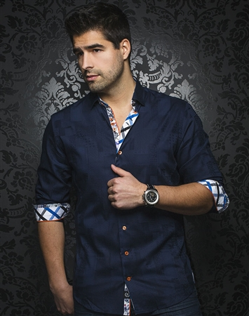 Designer Button Down: Navy Jacquard