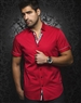 Red White Dot Short Sleeve Dress Shirt