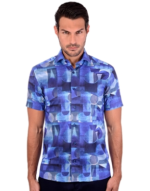 Intense  Blue Geometric Short Sleeve Dress Shirt