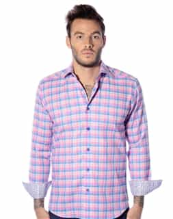 pink plaid casual shirt