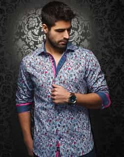 Designer Shirt: Men White Fuchsia Floral Shirt