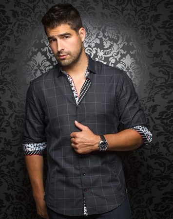 Designer Dress Shirt: Davios Black