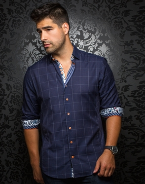 Designer Dress Shirt: Davios Navy