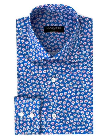 Men's Designer Dress Shirt - Blue Floral Print Woven